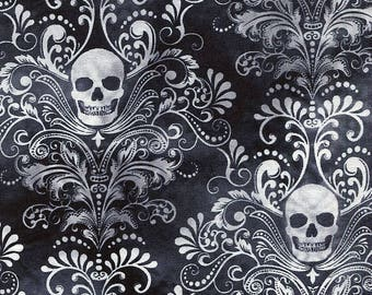 New - Wicked Eve Damask Skull - Timeless Treasures - 1 yard - More Available - BTY