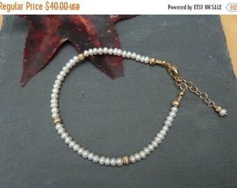 On Sale Pearl Stacking Bracelet, White Pearl Bracelet, Pearl Layering Bracelet, Gold Layering Jewelry, Gold Filled Bracelet, June Birthstone