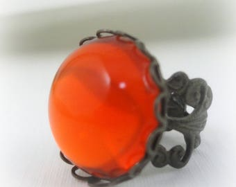 Glowing Orange Ring - Halloween Pumpkin Ring - Halloween Jewelry - Neon Orange - Adjustable Ring - Gothic Jewelry