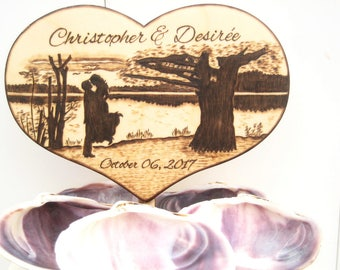 Rustic Wedding Cake Topper, Country wedding, LAKE wedding, Silhouette, Bride and groom, Beach, Unique WEDDING GIFT for Couple, Wood Heart