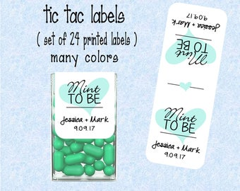 Wedding Favor Mint to be tic tac labels, stickers customized - (set of 24 printed labels) - Weddings, Bridal shower, Anniversary TIC78841