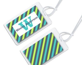 personalized bag tag for luggage, backpacks, lunch boxes and more, blue and green stripes