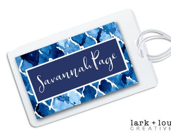 personalized bag tag for luggage, backpacks, lunch boxes and more, blue watercolor ikat for back to school