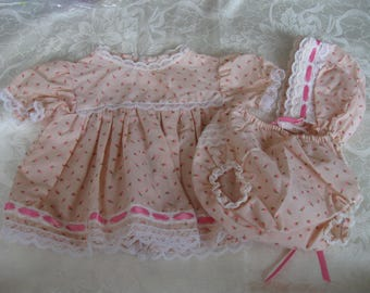 Vintage Pink Rosebud Dress Bonnet Panties Baby Doll Girl, Clothes, Cotton Clothing,Fabric,Toys,Doll Collecting,Accessories