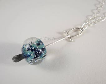 Pendant Necklace: Dichroic Glass Bead Sterling Silver Pendant by Sarah Wiley Jewelry 170020GP