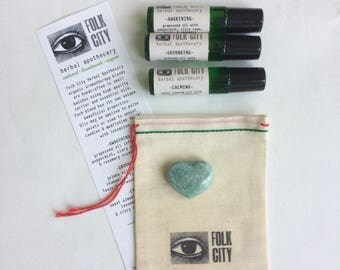 Folk City Herbal Apothecary Organic Aromatherapy Blended Oils: Set of Three with Amazonite