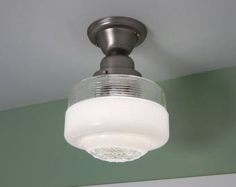 Semi Flush Ceiling Light Vintage Glass Shade New Satin Nickel Fixture