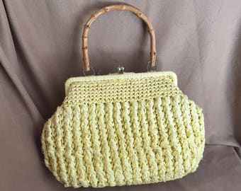 Vintage 60's Yellow Handbag, Yellow Woven Raffia Purse with Bamboo Handle, Structured, Top Handle, 50's, Rockabilly Style, Vegan Friendly