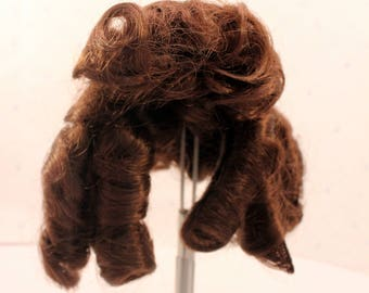 Doll Wig Synthetic Dark Brown Brunette Side Ringlets Unused Medium Size R