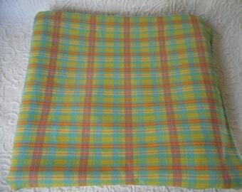 """Vintage Pastel Plaid Polyester Knit Fabric-Large Piece- 110"""" x 62"""" M/L"""