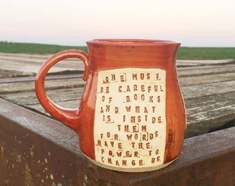 Large Mug- One Must Be Careful of Books- Clockwork Angel- Cassandra Clare- Red, Gold-Pottery Handmade by Daisy Friesen