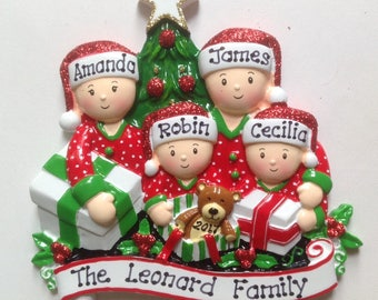 Personalized Christmas Pajama Family of Four Ornament , Grandparents-Family of Four, New Parents, Grandkids, Co-workers, Friends