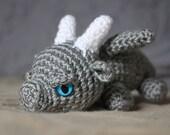 Baby Dragon - Crochet Dragon - Crocheted Dragon Toy - Amigurumi Dragon - Zombie Dragon - Stocking Stuffer - Geek Gift Idea - Undead Dragon