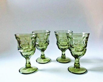 Vintage Green Wine Glasses, Mid Century Green Glasses, Set of 4, Fostoria Argus Green, Vintage Barware, Bar Cart Decor