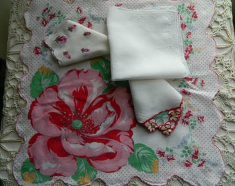 4 Vintage Hankies Good Vintage Condition Lot 2740