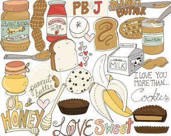 Peanut Butter & Jelly Clip Art, Sweet Treat Chocolate and Banana, Kids Recipes Clipart, Honey, Lunch Food Illustrations, Sandwich