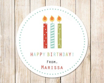 PRINTABLE birthday candles favor tags . personalized tags . happy birthday tags . thank you tags . gift tags . wording choices . You Print
