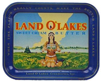 Vintage Land O Lakes Butter Tin Serving Advertising Tray