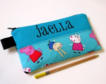 Handmade pencil bag with zipper - Peppa and Friends - zipper pouch - embroidery monogram name - storage bag - back to school