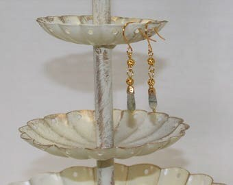 Petite, Genuine Moss Agate Earrings, Gold-Plated Earwires, Civil War or Victorian Appropriate -- Affordable Elegance