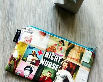 Retro Night Nurse Zipper Bag - Retro Nurse Pouch - Nurse Make Up Bag - Gadget Zipper Bag