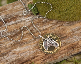 Horse Riding Kind Heart Charm Necklace