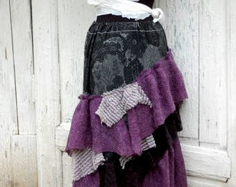Skirt, gypsy skirt, faerie skirt,Tim Burton, layers and frills, dance, noire fusion, blue, lilac, Jane Austen, Vintage romance, woman skirt