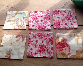 Vintage coasters, floral fabric kitchen linen, French home decor 6pc cotton coasters, floral cerise & pastel roses