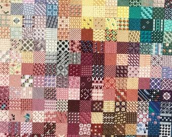 Vintage cross stitch embroidery needlepoint sampler
