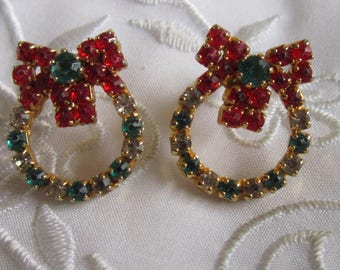 Vintage Christmas Wreath Pierced Earrings with Red, Green and White Rhinestones