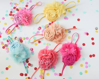 Life of the Party -- metallic solid rosette and chiffon tulle baby headband bow