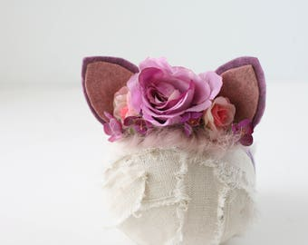 We're All Mad Here -Alice in Wonderland Cheshire Cat inspired floral crown newborn prop cat ears ready tp ship