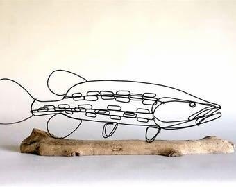 Fish Wire Sculpture, Northern Pike Sculpture, Fish Wire Art, Minimal Sculpture, 537542668