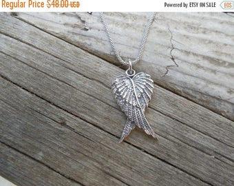 ON SALE Angel wings necklace handmade in sterling silver