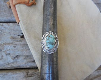 Turquoise ring handmade and signed in sterling silver, by Victor Chee, a Navajo silversmith with Dry Creek turquoise