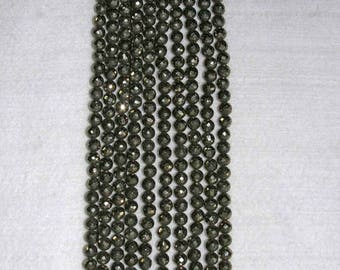 Pyrite, Pyrite Faceted Bead, Natural Stone, Sparkle Bead, Full Strand, 6mm, AdrianasBeads