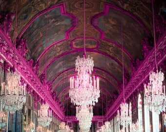 Palace of Versailles, French Art, Hot Pink Art, Hall of Mirrors, Country French decor, Travel Photography, Gift for Her, Romantic Photo