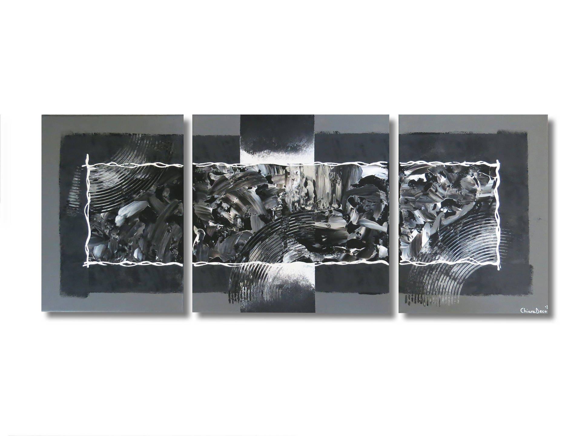 tableau triptyque toile gris noir blanc moderne abstrait. Black Bedroom Furniture Sets. Home Design Ideas