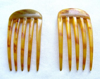 Matched pair steer horn hair combs hair accessory decorative comb hair ornament