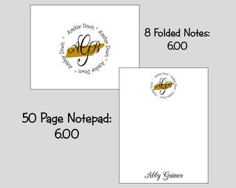 University of Vanderbilt Monogram Note cards or Note Pads...your choice