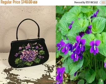 Anniversary Sale 35% Off Love Blooms Like a Violet - Vintage 1940s Black Petit Point Everyday Handbag w/Bouquet of Violets