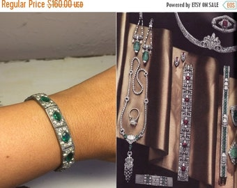 Anniversary Sale 35% Off Jovial Jewelry My Dear - Vintage 1930s Art Deco Green & Clear Paste Bracelet Chrome