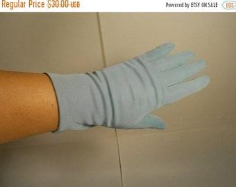 Anniversary Sale 35% Off Bye Bye Blues - Vintage 1950s Soft Sky Blue Nylon Wrist Gloves  7-8