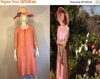 Anniversary Sale 35% Off Lady Caroline Dester's Enchantment - Vintage 1920s Salmon Pink/Peach Silk Chiffon Beaded Silk Day Dress - 4/6