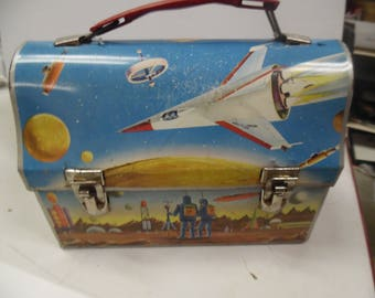 Space lunch box, Space dometop lunch pail, school lunch box, vintage dome lunch pail, vintage lunch box