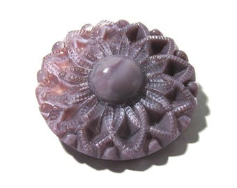 Czech Purple Moonglow Glass 35mm FLOWER Button Czech Moonglow Button One (1) Large Purple Flower Moonglow Jewelry Sewing Supply (L329)