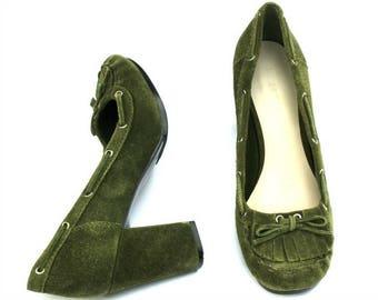 Vintage Nine West Dark Green/Gray Suede Classic Dress Heels Pumps Shoes Sz 9.5