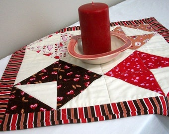 Valentine Table Topper Love Letters Romance Wedding Shower Quilted Quiltsy Handmade FREE U.S. Shipping