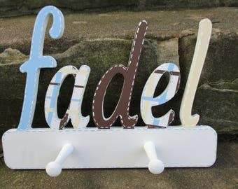 Custom Kids Name Sign Peg Rack - Nursery Wall Letters Name Sign with Coat Rack- Custom Children's Shabby Chic Name Plaque