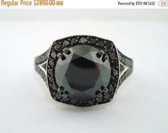 10% ON SALE 4.35 Carat Fancy Black Diamond Engagement Ring 14K White Gold Pave Set Vintage Style Handmade Certified